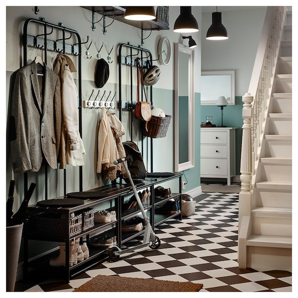 PINNIG Garderobenständer mit Bank, schwarz, 193x37x90 cm