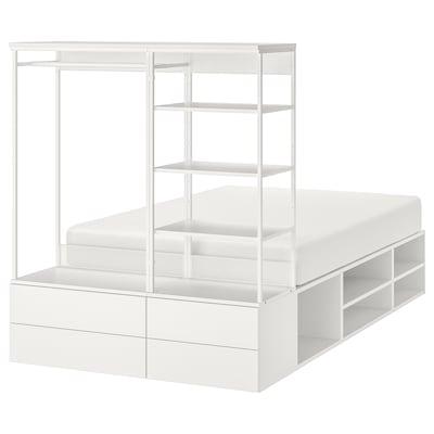 PLATSA Bettgestell mit 4 Schubladen, weiß/Fonnes, 140x244x163 cm
