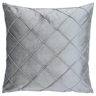 RAGNFRID Kissenbezug, Samt grau/diamantförmig, 50x50 cm