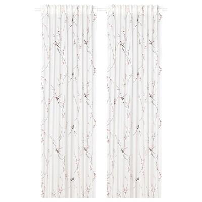 RÖDLÖNN 2 Gardinenschals, weiß/Blume, 145x300 cm