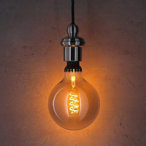 ROLLSBO LED-Leuchtmittel E27 200 lm, dimmbar/rund Klarglas grau, 125 mm