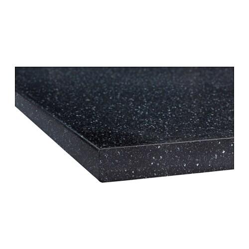SÄLJAN Arbeitsplatte - schwarz Quarzmuster, 186x3.8 cm - IKEA