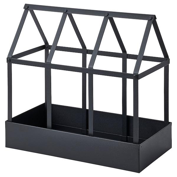 SENAPSKÅL Deko-Gewächshaus, drinnen/draußen schwarz, 34 cm