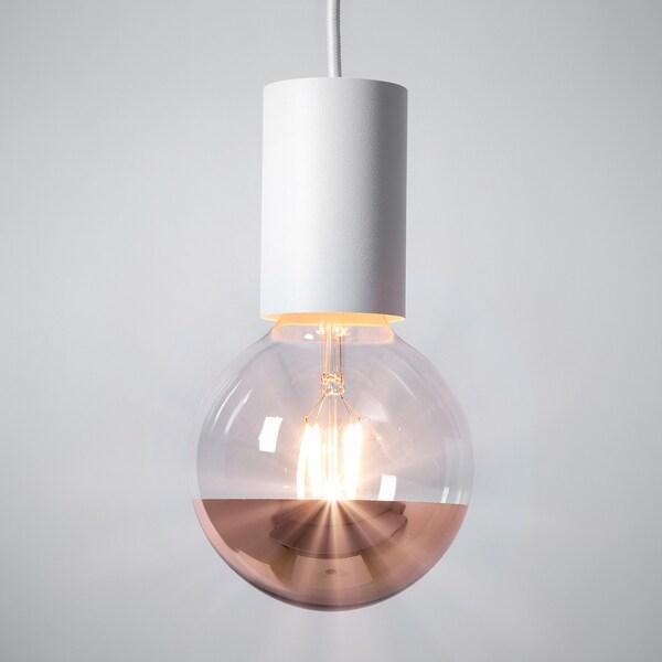 SILLBO LED-Leuchtmittel E27 370 lm, rund/kopfverspiegelt roségoldfarben, 125 mm