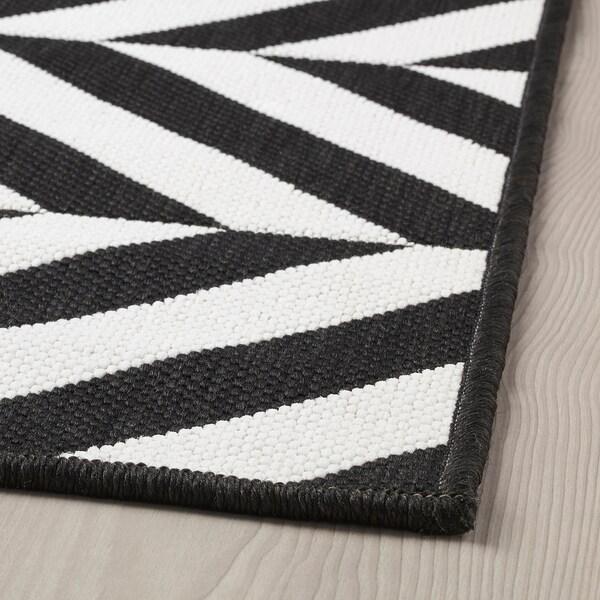 SKARRILD Teppich flach gewebt, drinnen/drau, weiß/schwarz, 160x230 cm