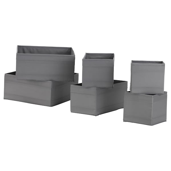 SKUBB Box 6er-Set, dunkelgrau
