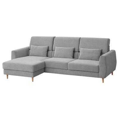 SLATORP 3er-Sofa, mit Récamiere links/Tallmyra weiß/schwarz