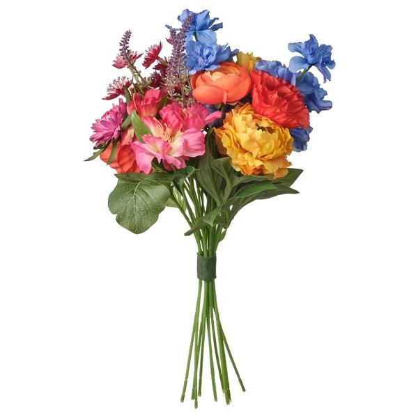SMYCKA Kunstblumenstrauß, drinnen/draußen blau/rot/gelb/rosa, 41 cm