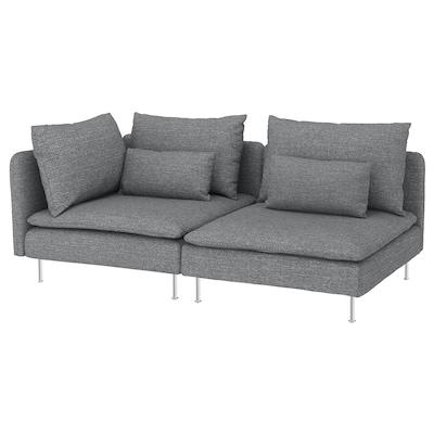 SÖDERHAMN 3er-Sofa, ohne Abschluss/Lejde grau/schwarz