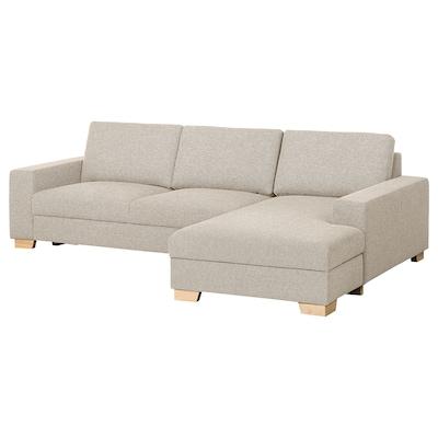 SÖRVALLEN 3er-Sofa, mit Récamiere rechts/Lejde dunkelbeige
