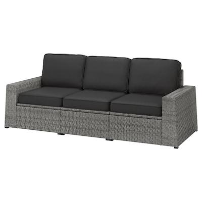 SOLLERÖN 3er-Sitzelement/außen, dunkelgrau/Järpön/Duvholmen anthrazit