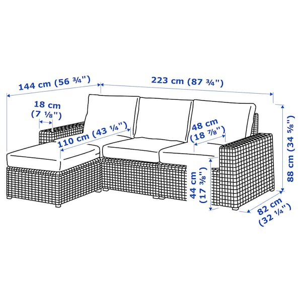SOLLERÖN 3er-Sitzelement/außen, mit Hocker braun/Frösön/Duvholmen dunkelgrau, 223x144x88 cm