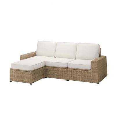 SOLLERÖN 3er-Sitzelement/außen, mit Hocker braun/Järpön/Duvholmen weiß