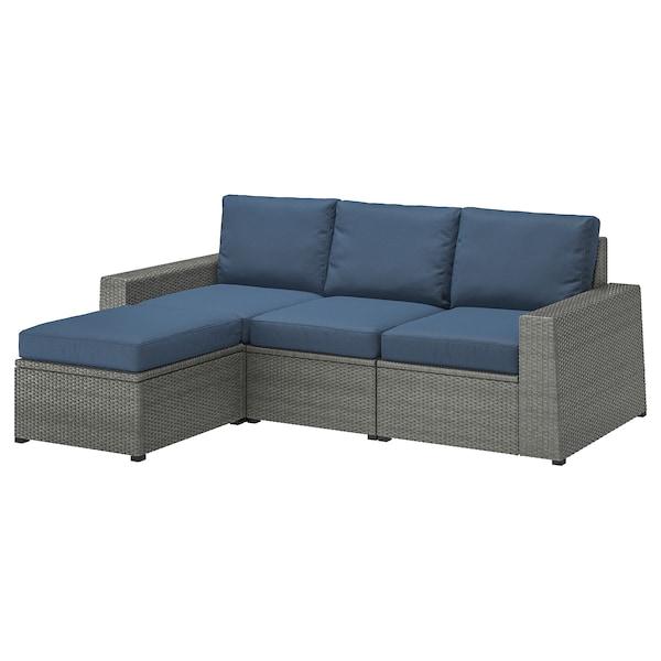SOLLERÖN 3er-Sitzelement/außen, mit Hocker dunkelgrau/Frösön/Duvholmen blau, 223x144x88 cm