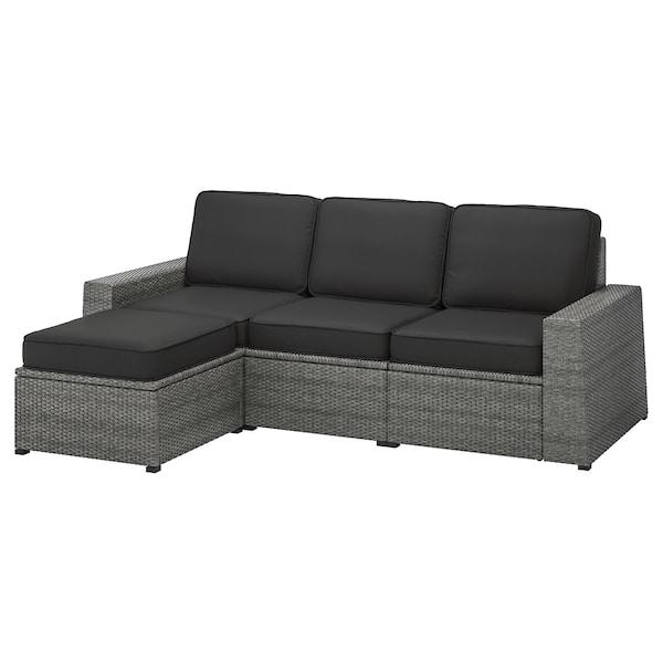 SOLLERÖN 3er-Sitzelement/außen, mit Hocker dunkelgrau/Järpön/Duvholmen anthrazit