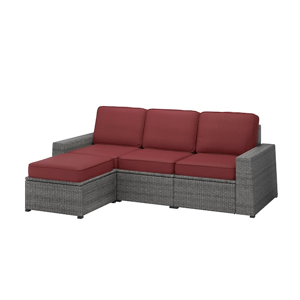 SOLLERÖN 3er-Sitzelement/außen, mit Hocker dunkelgrau/Järpön/Duvholmen braunrot