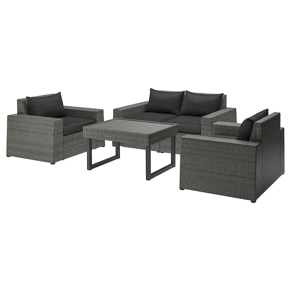 SOLLERÖN 4er-Sitzgruppe/außen, dunkelgrau/Hållö schwarz