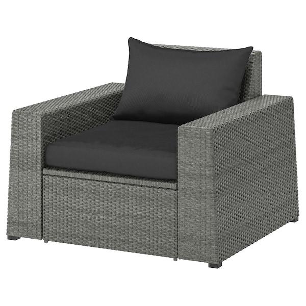 SOLLERÖN Sessel/außen, dunkelgrau/Hållö schwarz