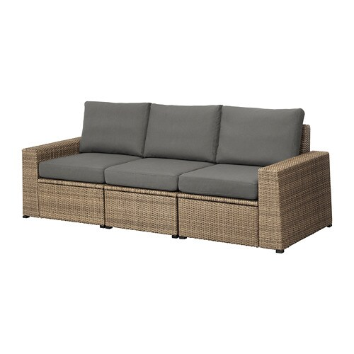 Soller n 3er sofa au en braun fr s n duvholmen for Sofa dunkelgrau
