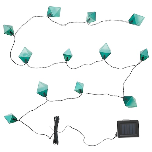 SOLVINDEN Lichterkette (12), LED für draußen solarbetrieben/diamantförmig blau 3.0 m 19 cm 2.1 m 0.05 W 5.0 m
