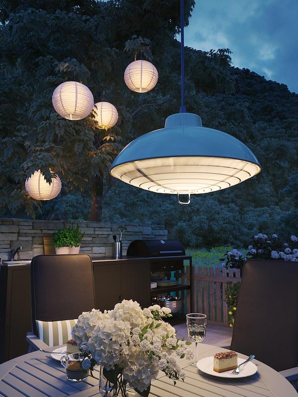 SOLVINDEN Solarhängeleuchte, LED, für draußen/beige, 38 cm
