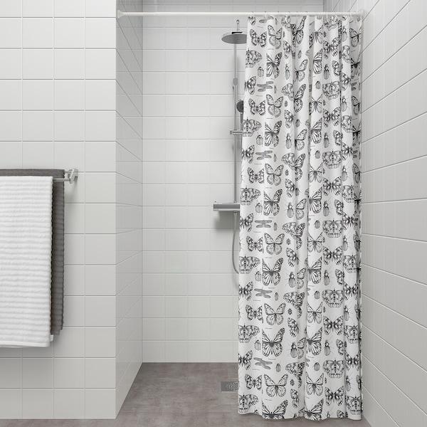 SOMMARMALVA Duschvorhang, weiß/dunkelgrau, 180x200 cm