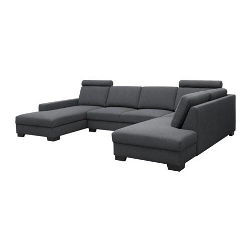 s rvallen ecksofa mit r camiere links ten dunkelgrau ikea. Black Bedroom Furniture Sets. Home Design Ideas