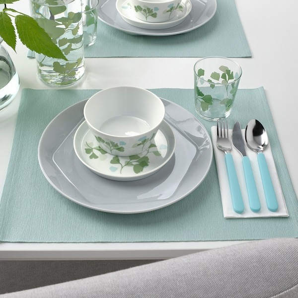 STILENLIG Schüssel, Blattmuster weiß/grün, 13 cm