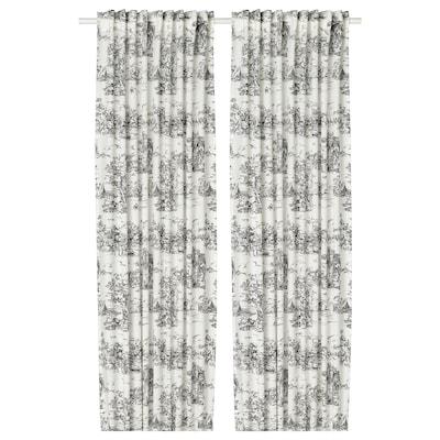 STJÄRNRAMS 2 Gardinenschals, weiß/grau, 145x300 cm