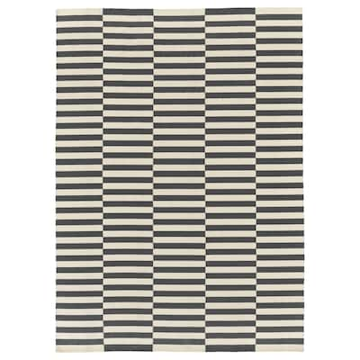 STOCKHOLM 2017 Teppich flach gewebt, Handarbeit/gestreift grau, 250x350 cm