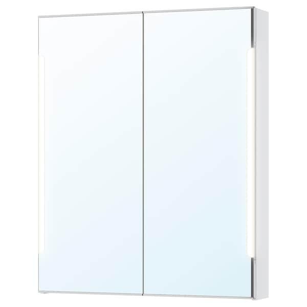 STORJORM Spiegelschrank m. 2 Türen+int. Bel., weiß, 80x14x96 cm