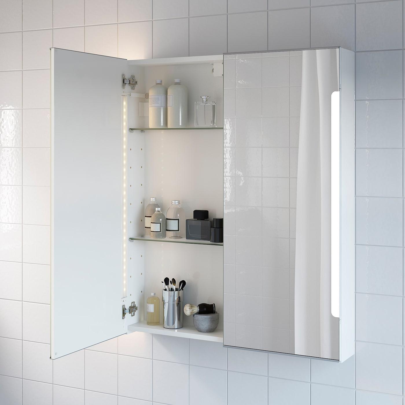 STORJORM Spiegelschrank m. 20 Türen+int. Bel.   weiß 20x20x20 cm