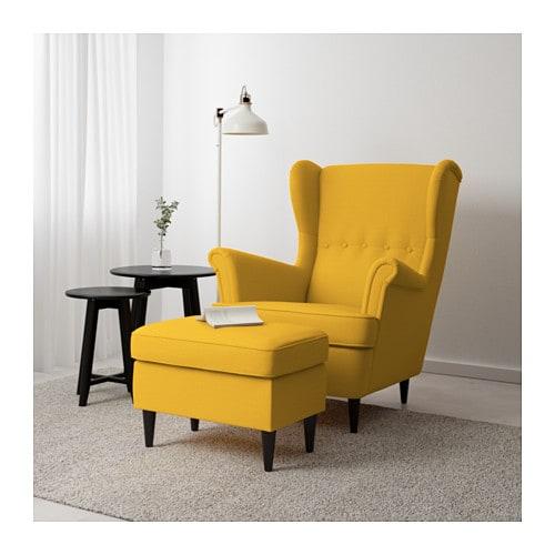 Ohrensessel mit hocker ikea  STRANDMON Hocker - Skiftebo gelb - IKEA