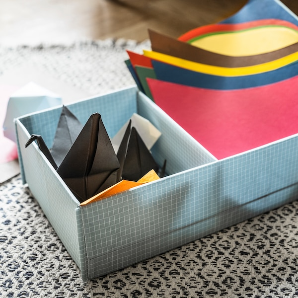 STUK Kasten mit Fächern, blaugrau, 20x34x10 cm