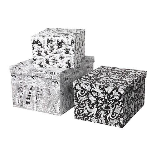 stunsig kasten mit deckel 3er set ikea. Black Bedroom Furniture Sets. Home Design Ideas