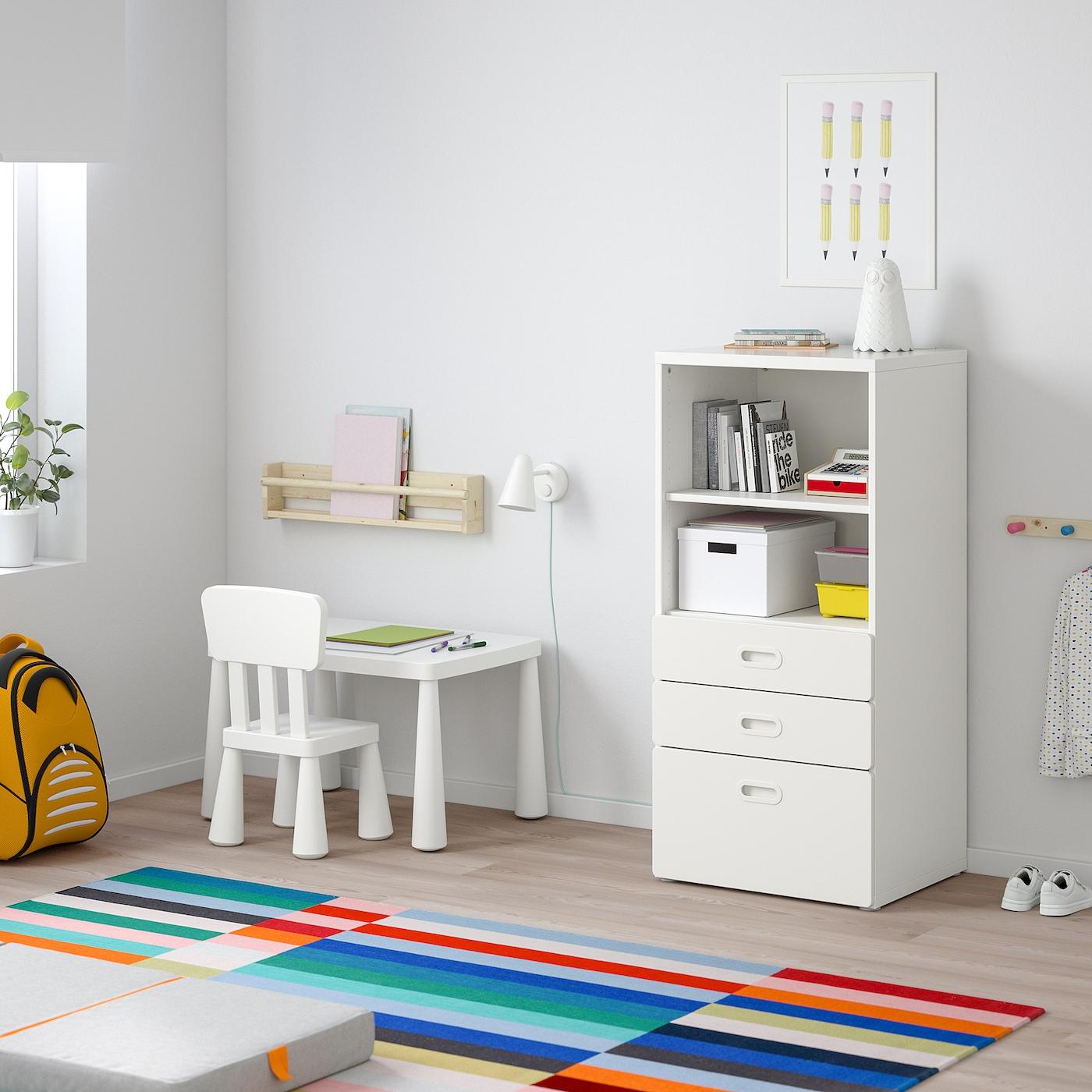 STUVA / FRITIDS Bücherregal mit Schubladen weiß/weiß 60 cm 50 cm 128 cm