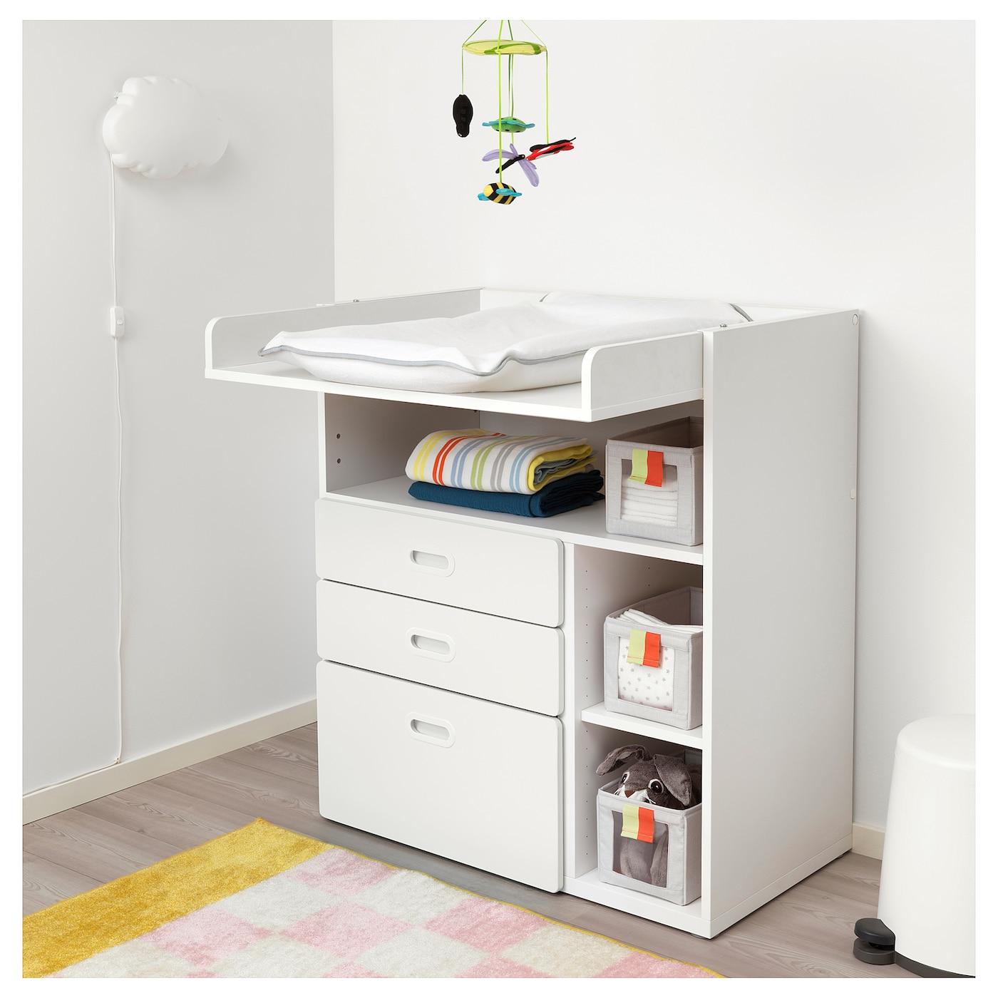 STUVA / FRITIDS Wickeltisch mit Schubladen weiß/weiß 90 cm 79 cm 102 cm 15 kg