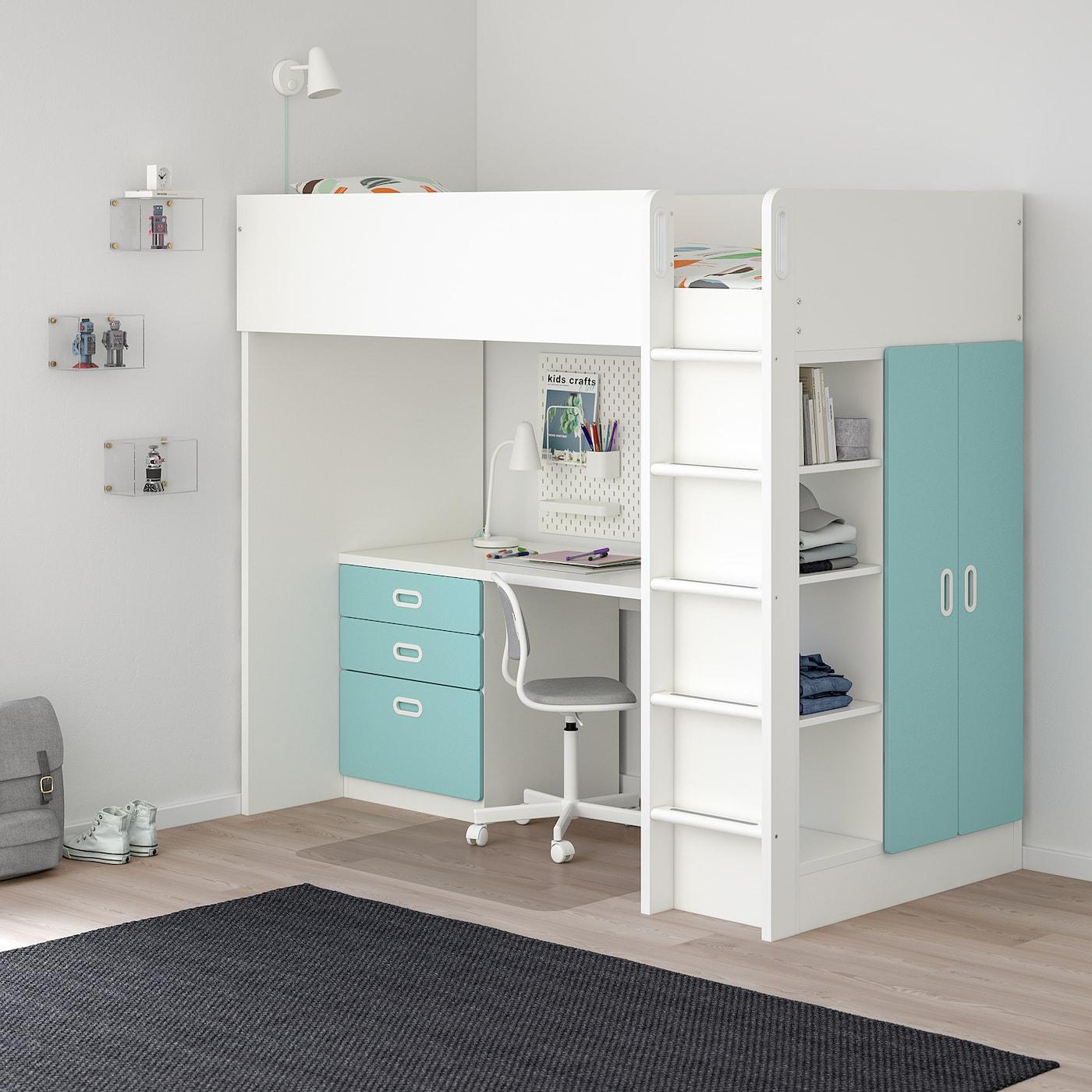 STUVA / FRITIDS Hochbettkomb. 3 Schubl./2 Türen    weiß/hellblau 155 cm 62 cm 74 cm 182 cm 142 cm 99 cm 207 cm 100 kg 200 cm 90 cm 20 cm