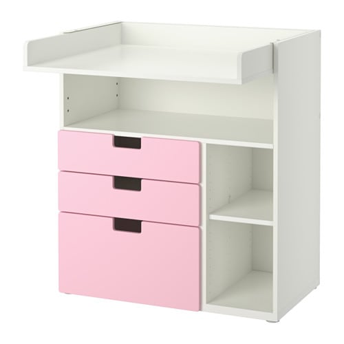 stuva wickeltisch mit 3 schubladen wei rosa ikea. Black Bedroom Furniture Sets. Home Design Ideas