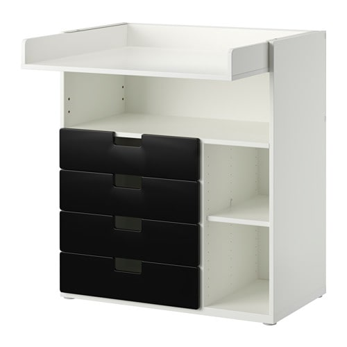 stuva wickeltisch mit 4 schubladen wei schwarz ikea. Black Bedroom Furniture Sets. Home Design Ideas