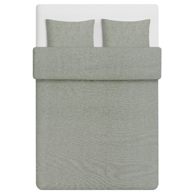 SVALBOMAL Bettwäsche-Set, 3-teilig, dunkelgrün/weiß Rauten, 240x220/50x60 cm