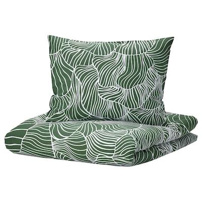 SVAMPMAL Bettwäsche-Set, 3-teilig, dunkelgrün/weiß, 240x220/50x60 cm