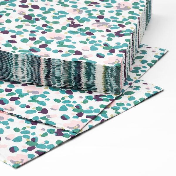 TACKSAMHET Papierserviette gemustert/bunt 33 cm 33 cm 30 Stück