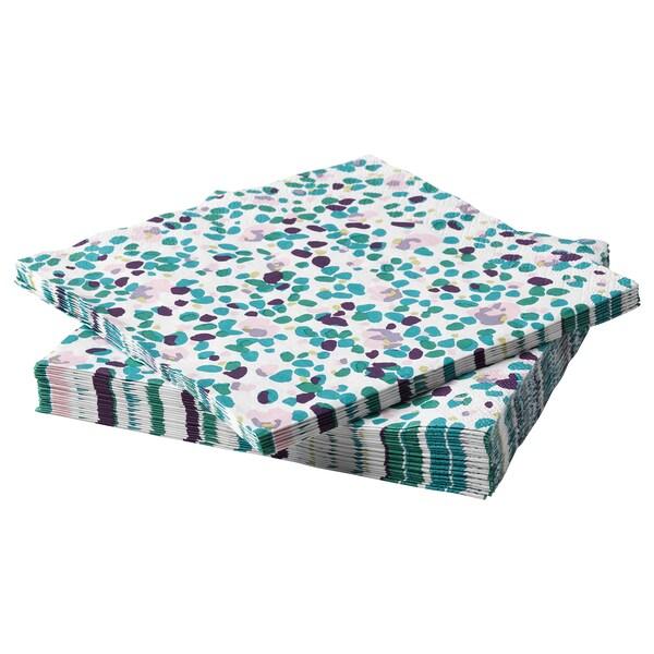 TACKSAMHET Papierserviette, gemustert/bunt, 33x33 cm