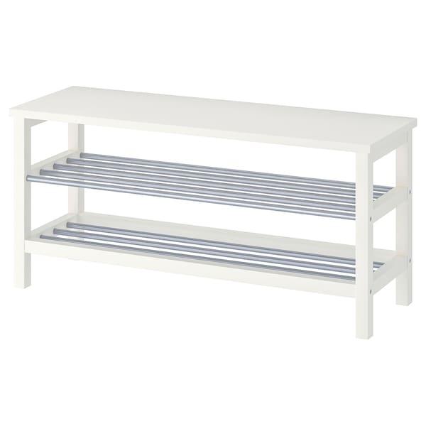 TJUSIG Bank mit Schuhablage, weiß, 108x34x50 cm
