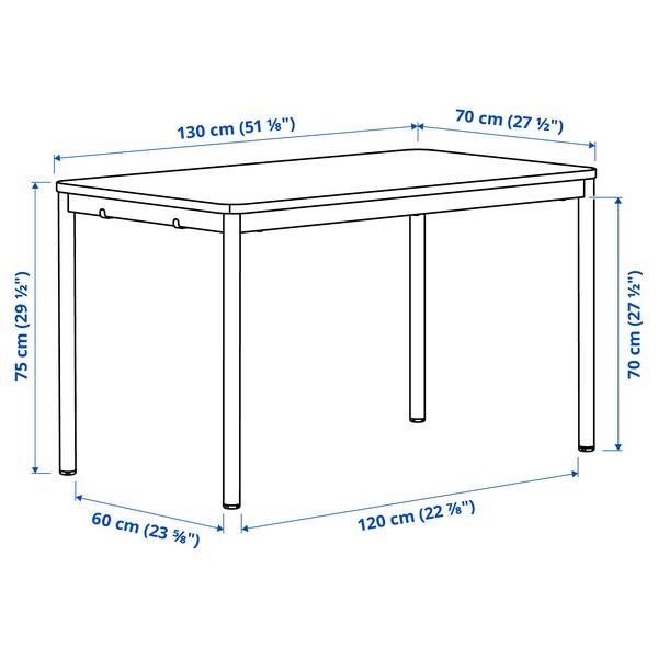 TOMMARYD Tisch, Eichenfurnier weiß lasiert/weiß, 130x70 cm
