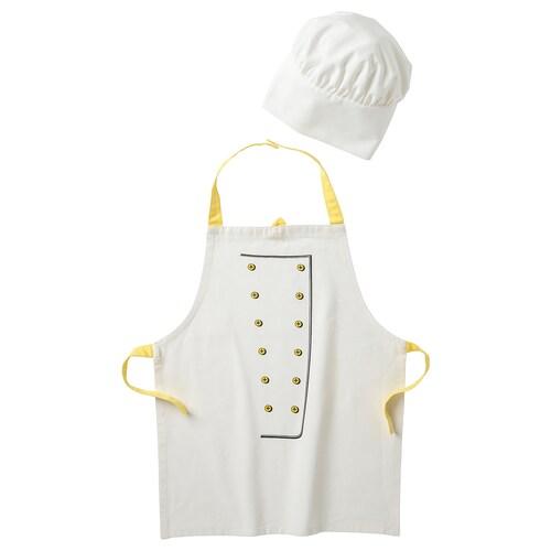 TOPPKLOCKA Kinderschürze und Kochmütze weiß/gelb 57 cm