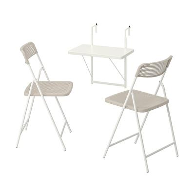 TORPARÖ Wandtisch+2 Klappstühle/außen, weiß/beige, 50 cm