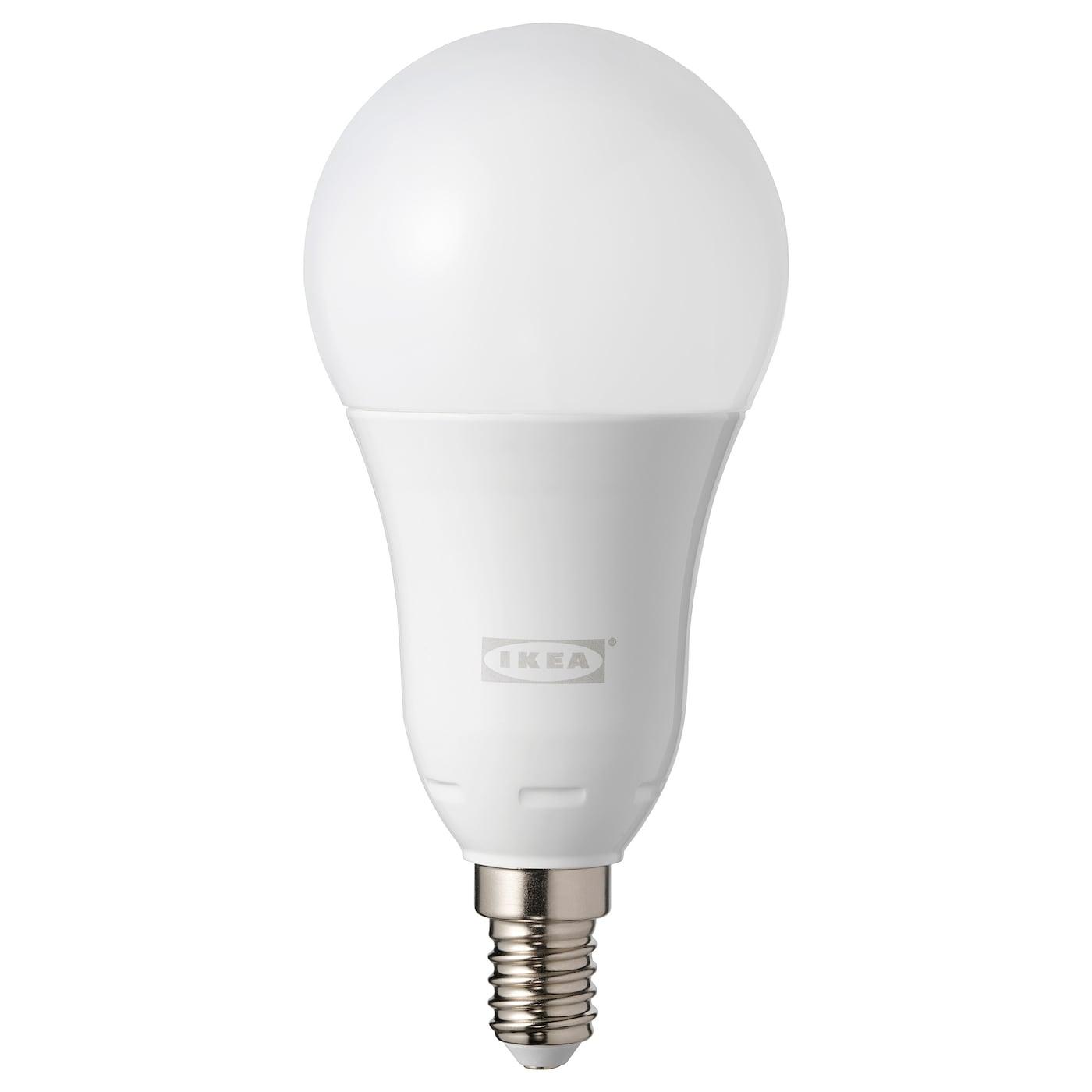TRÅDFRI LED Leuchtmittel E14 600 lm kabellos dimmbar Farb und Weißspektrumrund opalweiß
