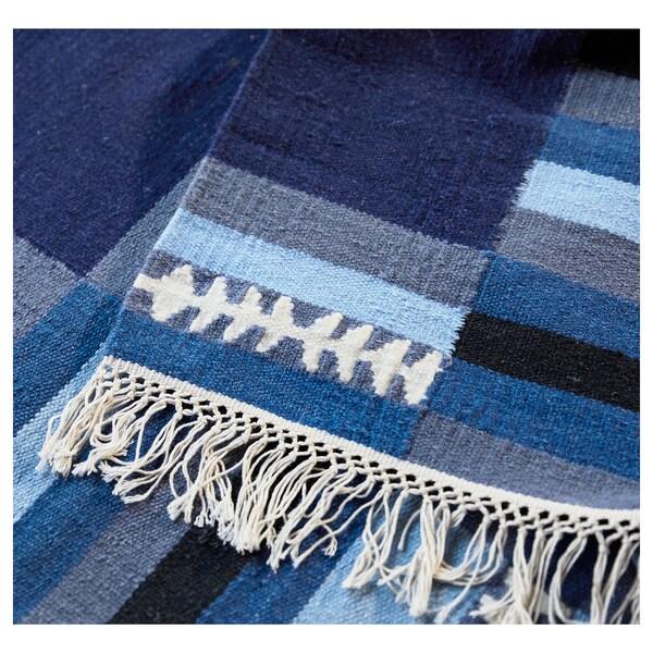 TRANGET Teppich flach gewebt Handarbeit Blautöne 240 cm 170 cm 4 mm 4.08 m² 1100 g/m²